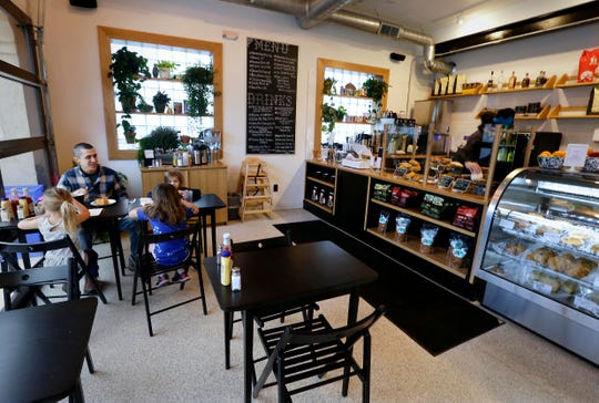 Customers can look over the savory and sweet hand pies, the small pies, salads and other baked goods before ordering at the counter at SmallPie in Bay View.