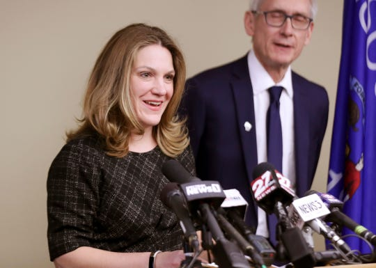 Andrea Palm, shown with Gov. Tony Evers, was endorsed Wednesday, Aug. 21, 2019, by a Senate committee to be confirmed as secretary of the Department of Health Services.