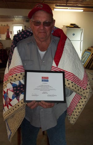 Dick Wakefieldof Lakeviewwas recently awarded a Quilt of Valor by the Mountain Home Quilts of Valor Group at a recent gathering of family and friends at his home. Wakefield, a member of the United States Marine Corps, served in the 3rd Reconnaissance Battalion, 3rd Marine Division in Vietnam from 1961 to 1964.