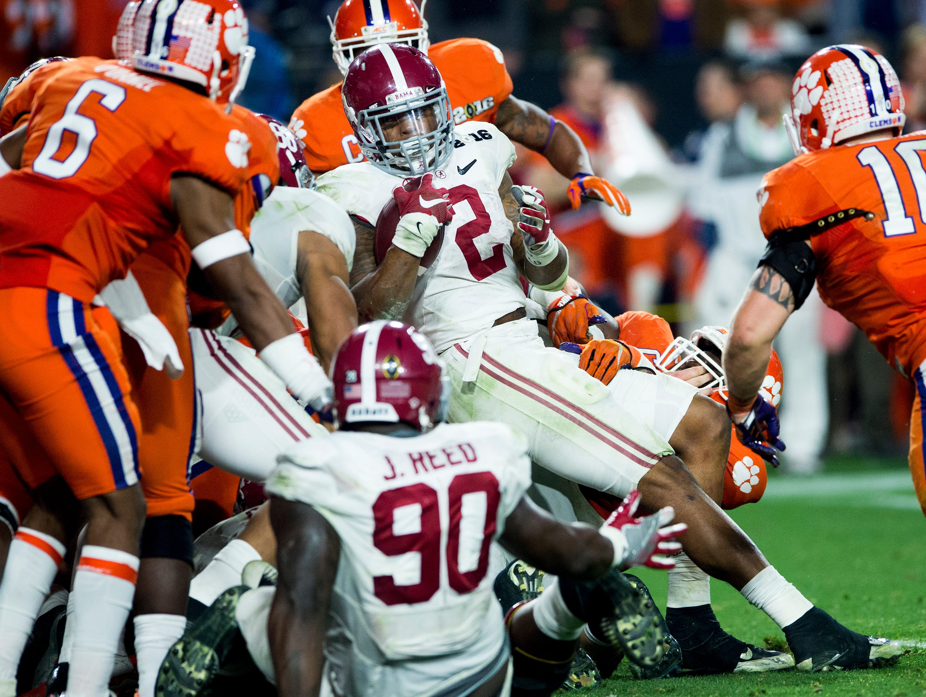 Alabama running back Derrick Henry (2) scores the final touchdown against Clemson in the College Football Playoff Championship Game on Monday January 11, 2016 at University of Phoenix Stadium in Glendale, Az.