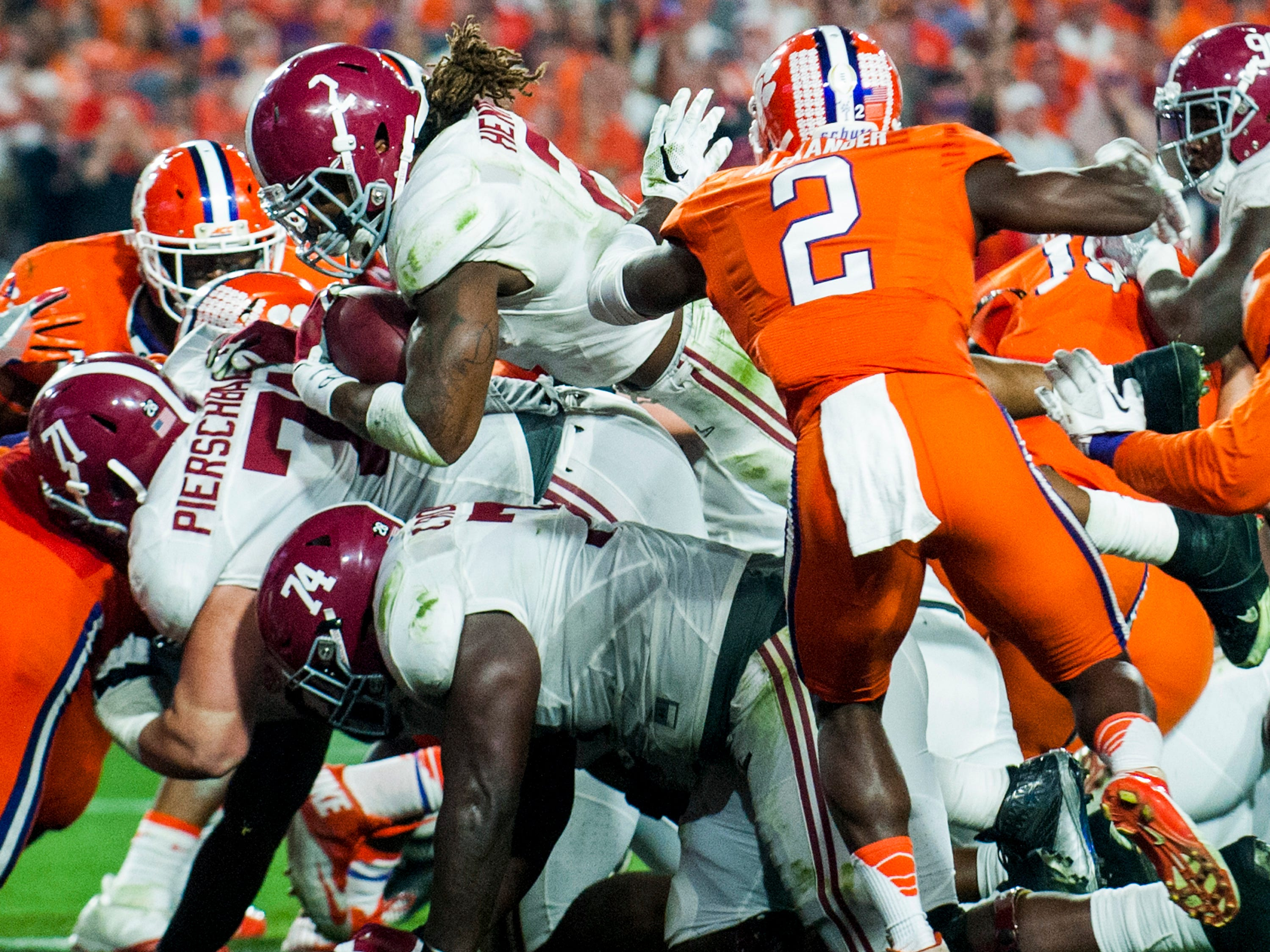 Alabama running back Derrick Henry (2) dives in for a second quarter touchdown against Clemson in the College Football Playoff Championship Game on Monday January 11, 2016 at University of Phoenix Stadium in Glendale, Az.