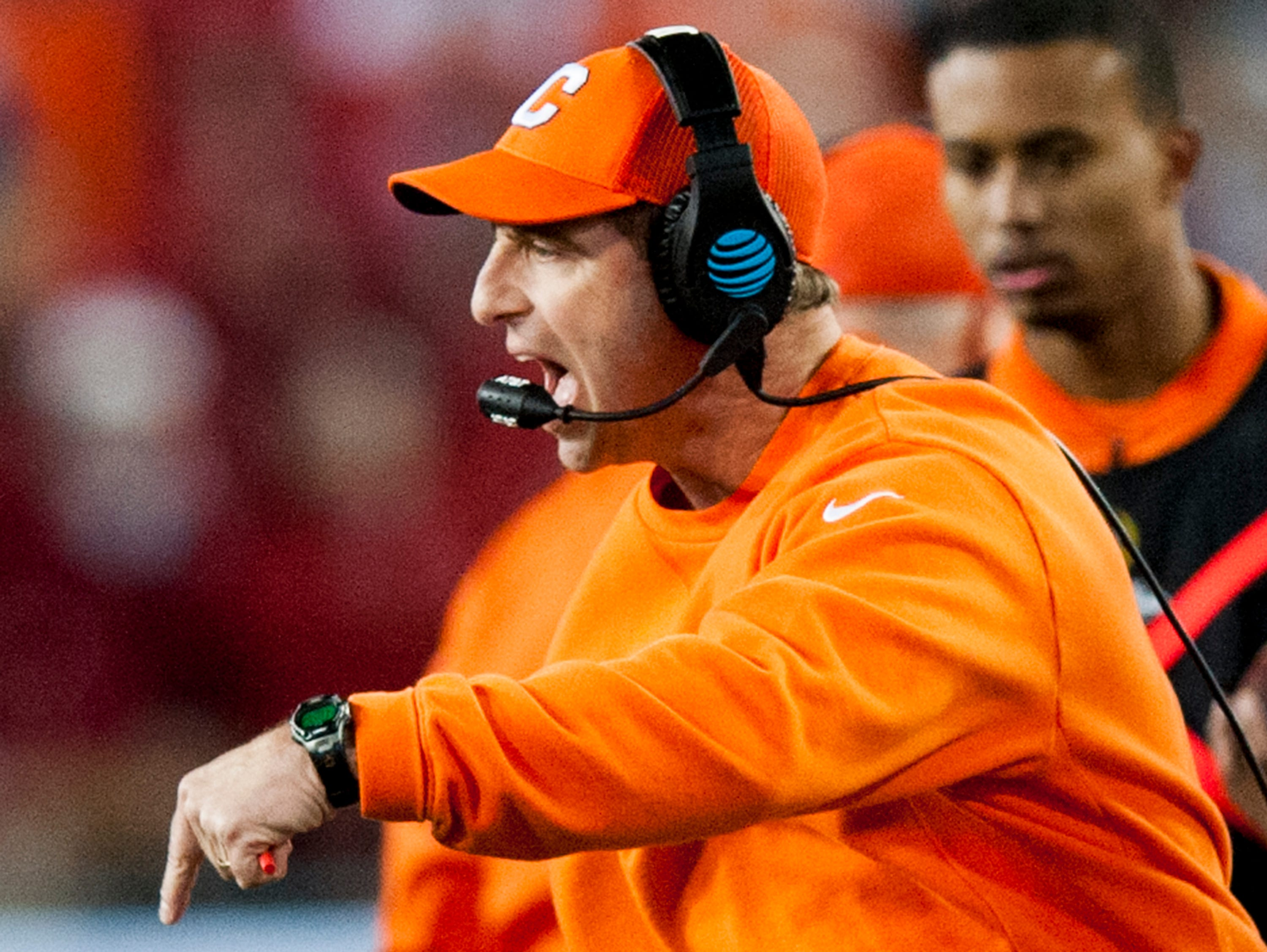 Clemson head coach Dabo Swinney coaches against Alabama in second half action of the College Football Playoff National Championship Game at Raymond James Stadium in Tampa, Fla. on Monday January 9, 2017.