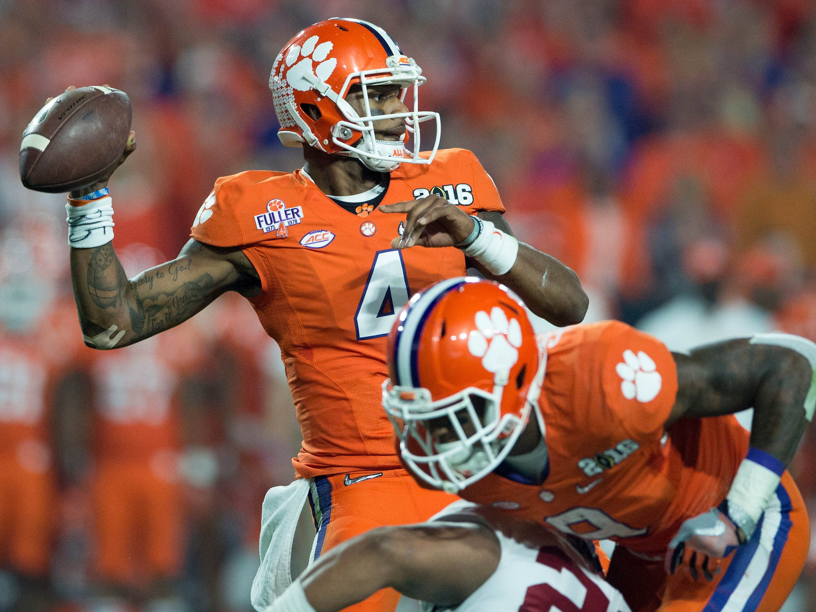 Clemson quarterback Deshaun Watson (4) throws a second quarter interception in the College Football Playoff Championship Game on Monday January 11, 2016 at University of Phoenix Stadium in Glendale, Az.