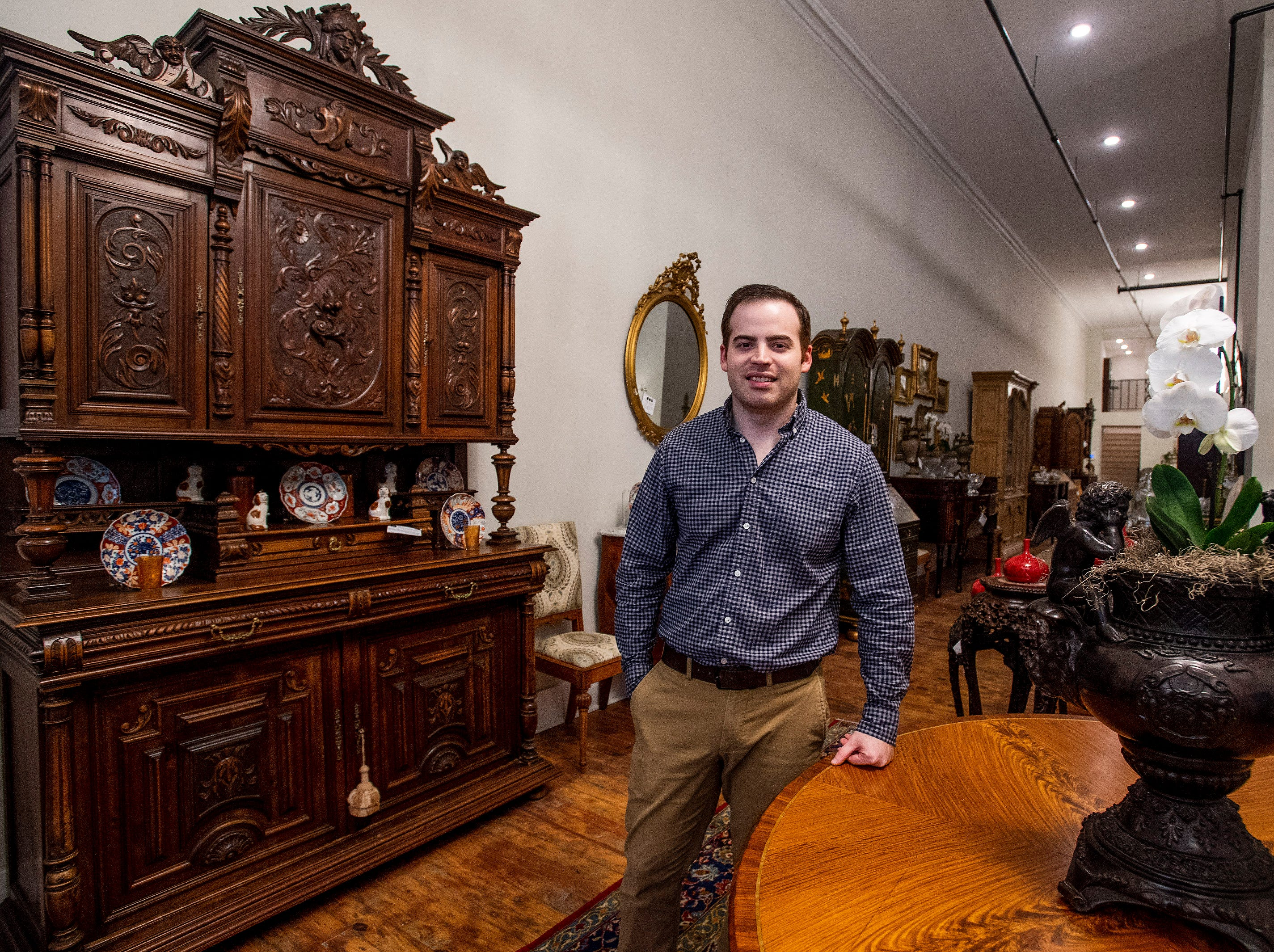Andrew Thrash of the soon to be opened Montgomery Antiques and Interiors location on Dexter Avenue in downtown Montgomery, Ala., on Thursday January 3, 2019.