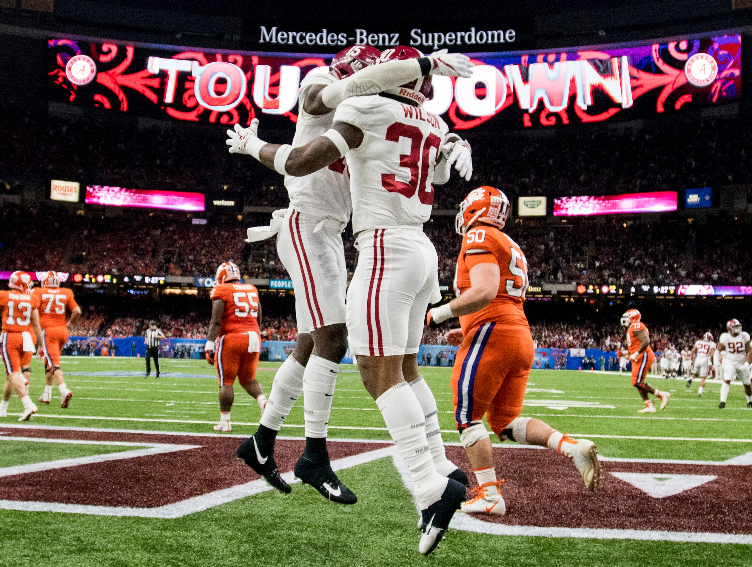 Alabama linebacker Mack Wilson (30) celebrates his interception touchdown against Clemson in the Sugar Bowl at the Superdome in New Orleans, La. on Monday January 1, 2018.