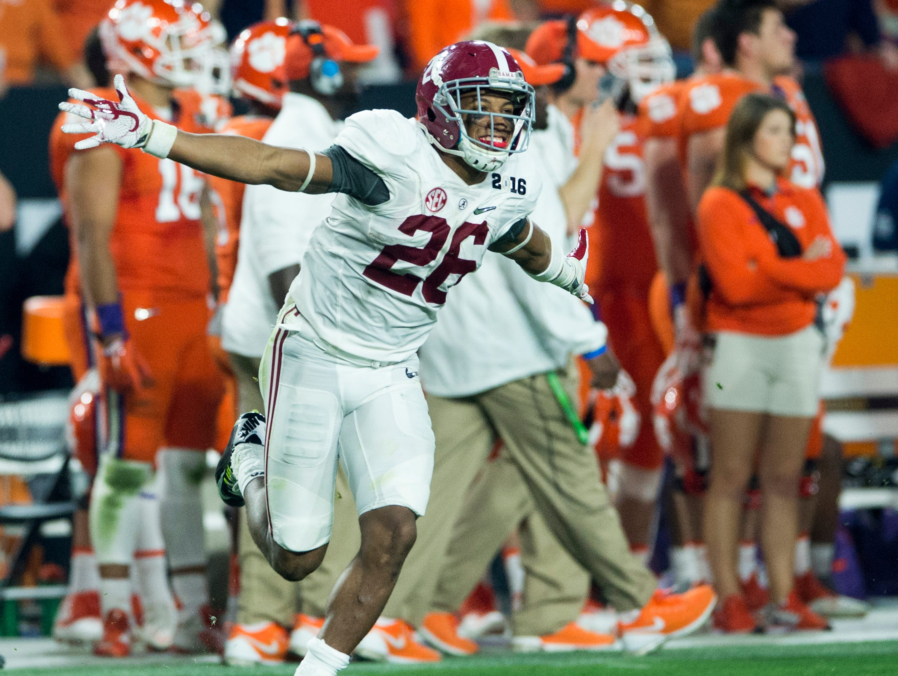 Alabama defensive back Marlon Humphrey (26) celebrates a successful onside kick in the College Football Playoff Championship Game on Monday January 11, 2016 at University of Phoenix Stadium in Glendale, Az.