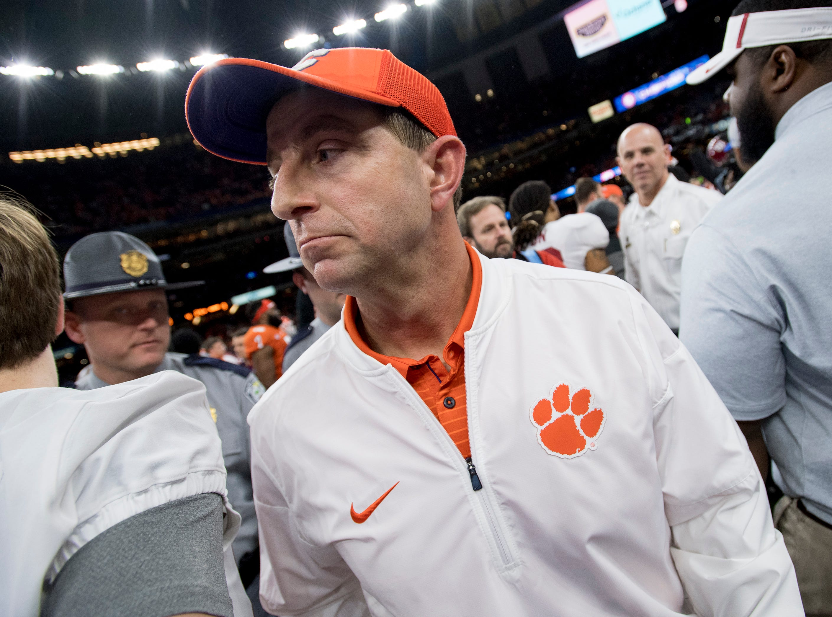 Clemson head coach Dabo Swinney  walks off the field after losing to Alabama in the Sugar Bowl at the Superdome in New Orleans, La. on Monday January 1, 2018.