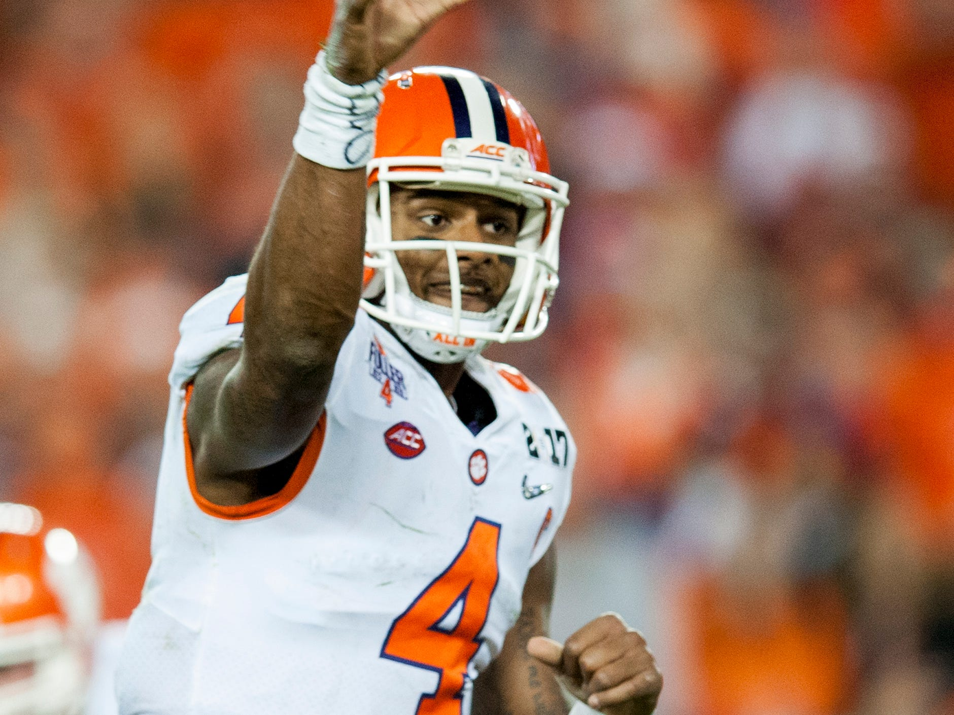 Clemson quarterback Deshaun Watson (4) throws against Alabama in second half action of the College Football Playoff National Championship Game at Raymond James Stadium in Tampa, Fla. on Monday January 9, 2017.
