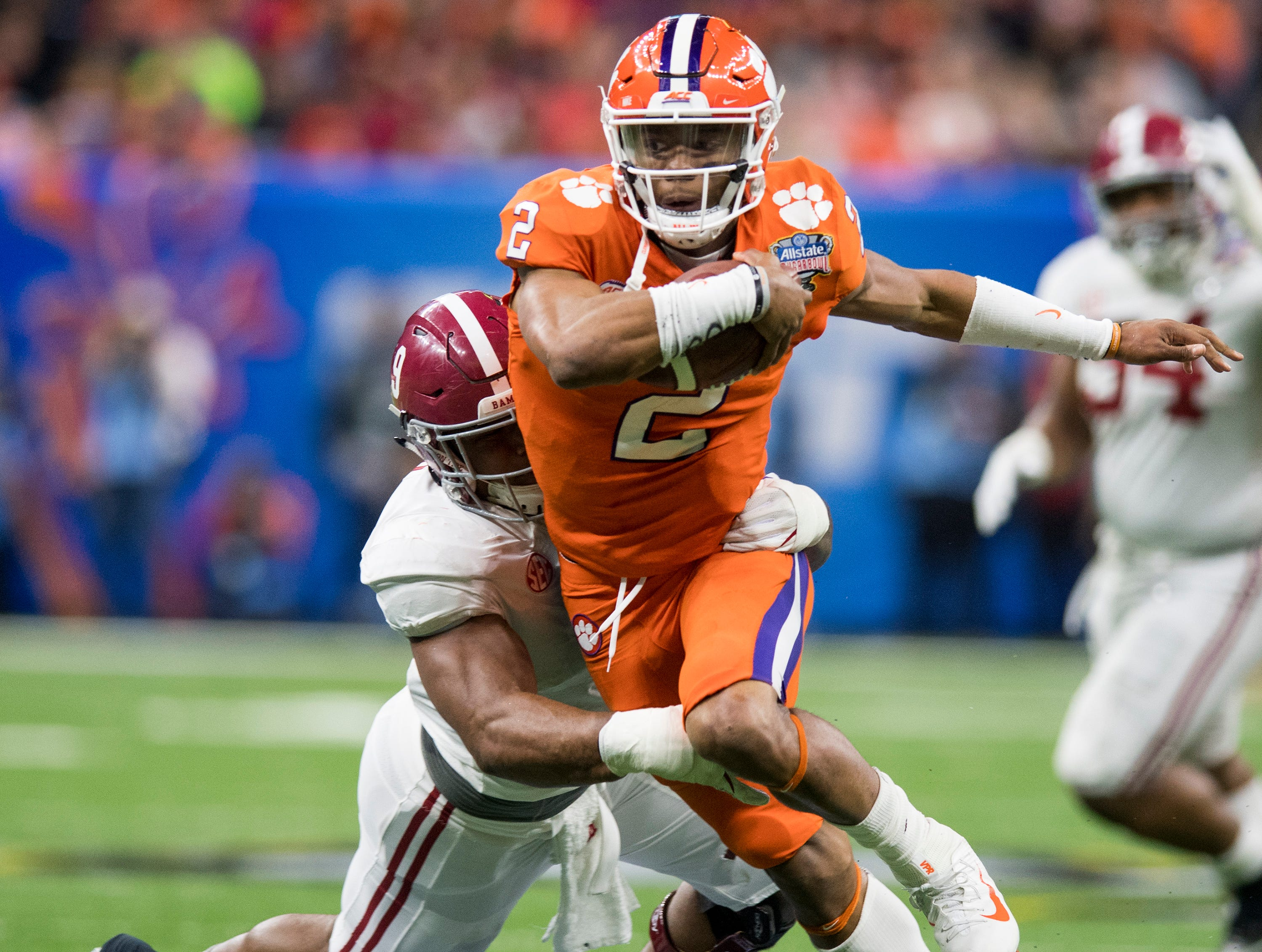 Alabama defensive lineman DaÕShawn Hand (9) sacks Clemson quarterback Kelly Bryant (2) in the Sugar Bowl at the Superdome in New Orleans, La. on Monday January 1, 2018.