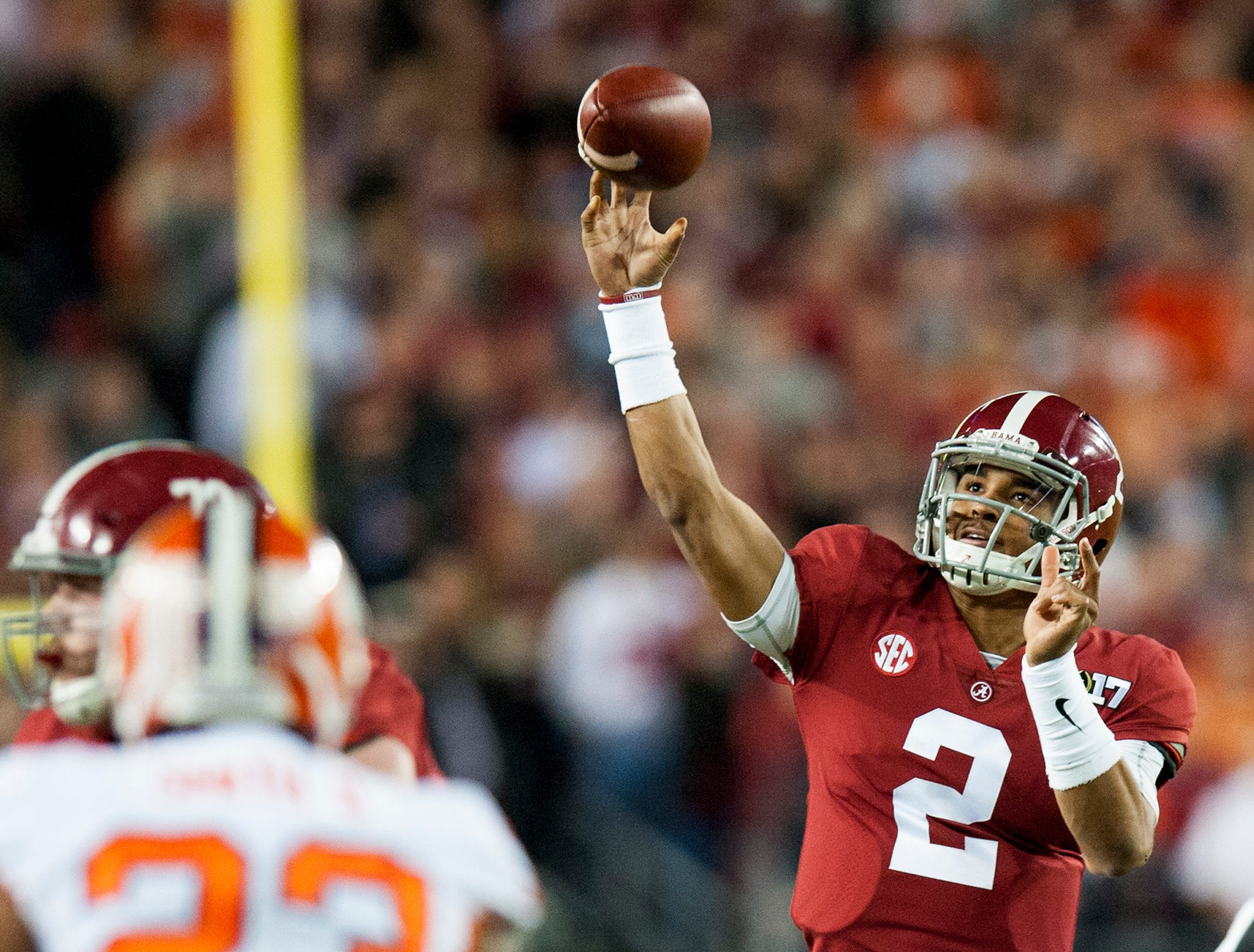 Alabama quarterback Jalen Hurts (2) throws against Clemson in first half action of the College Football Playoff National Championship Game at Raymond James Stadium in Tampa, Fla. on Monday January 9, 2017.