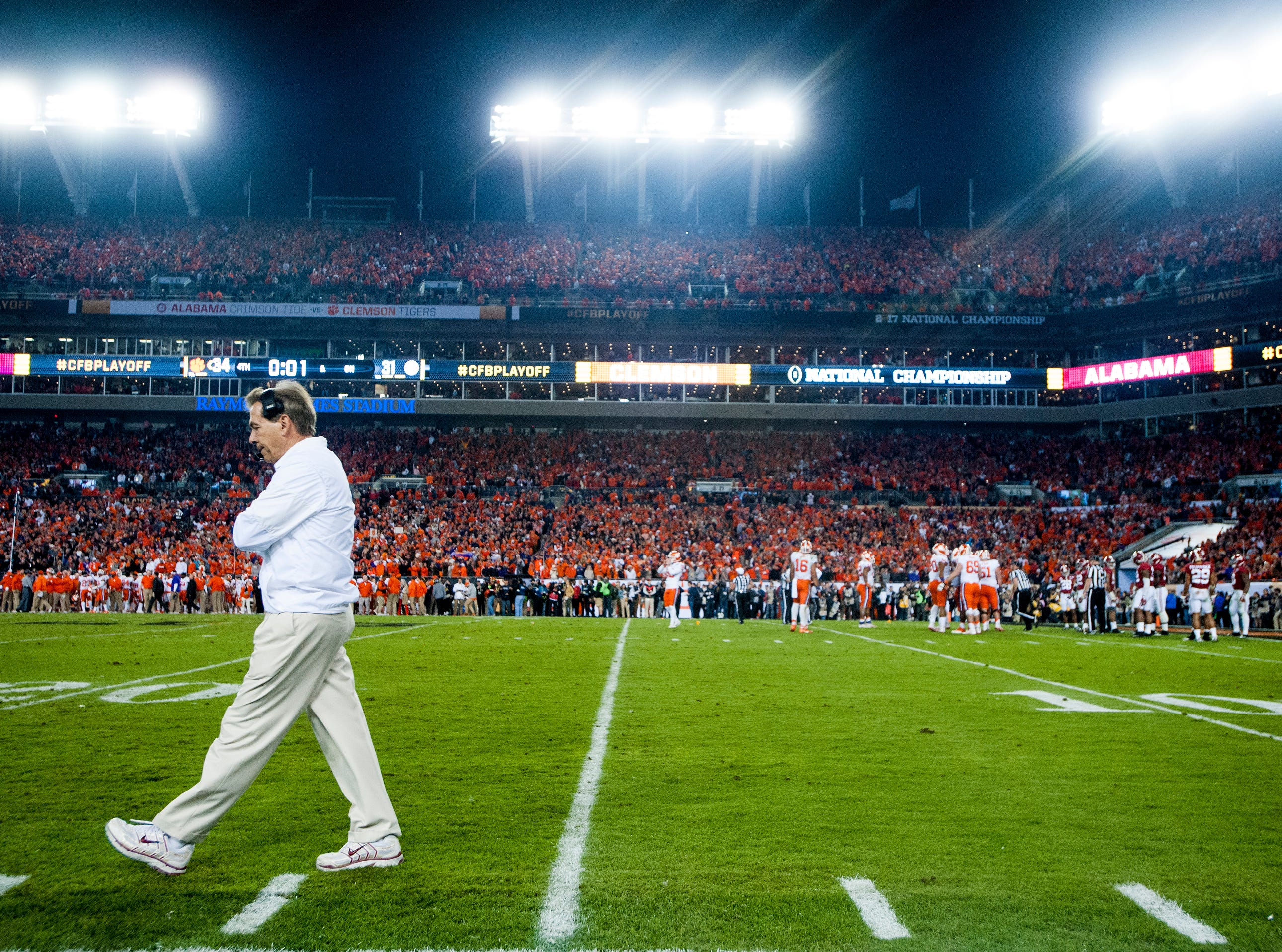 Alabama head coach Nick Saban paces late against Clemson in the College Football Playoff National Championship Game at Raymond James Stadium in Tampa, Fla. on Monday January 9, 2017.
