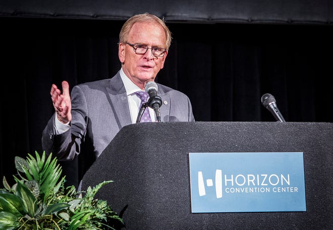 Mayor Dennis Tyler speaks during a teacher appreciation luncheon on January 3, 2019 at the Horizon Convention Center. Tyler will give the State of the City Address on April 16.