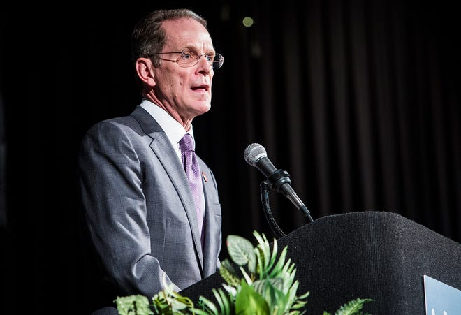 Ball State president Geoffrey Mearns speaks to MCS teachers and staff during the teacher Appreciation Luncheon at the Horizon Convention Center Thursday afternoon.