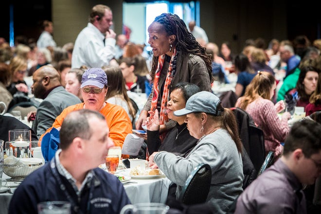 Muncie Community Schools teachers attend a Teacher Appreciation luncheon at the Horizon Convention Center in 2019.
