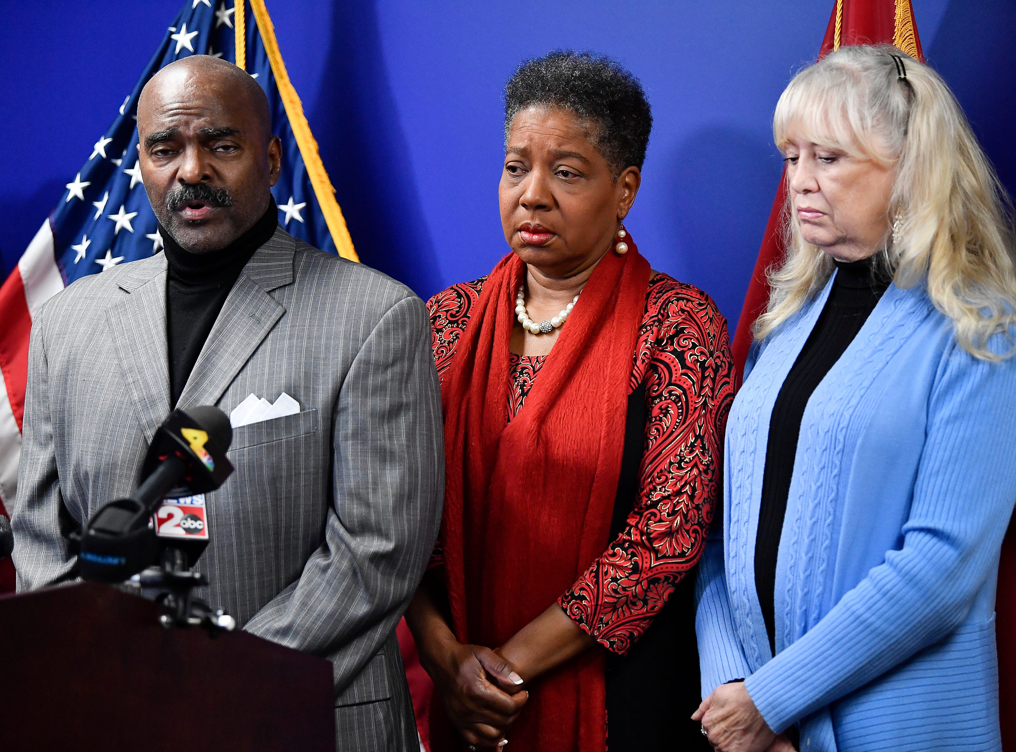 Tenn. Rep. G.A. Hardaway with State Sen. elect Brenda Gilmore and State Rep. Sherry Jones addresses the media during a press conference asking Gov. Bill Haslam to grant Cyntoia Brown clemency after being convicted of murder when she was 16-years-old in 2004 at the Cordell Hull Building Thursday, Jan. 3, 2019, in Nashville, Tenn.