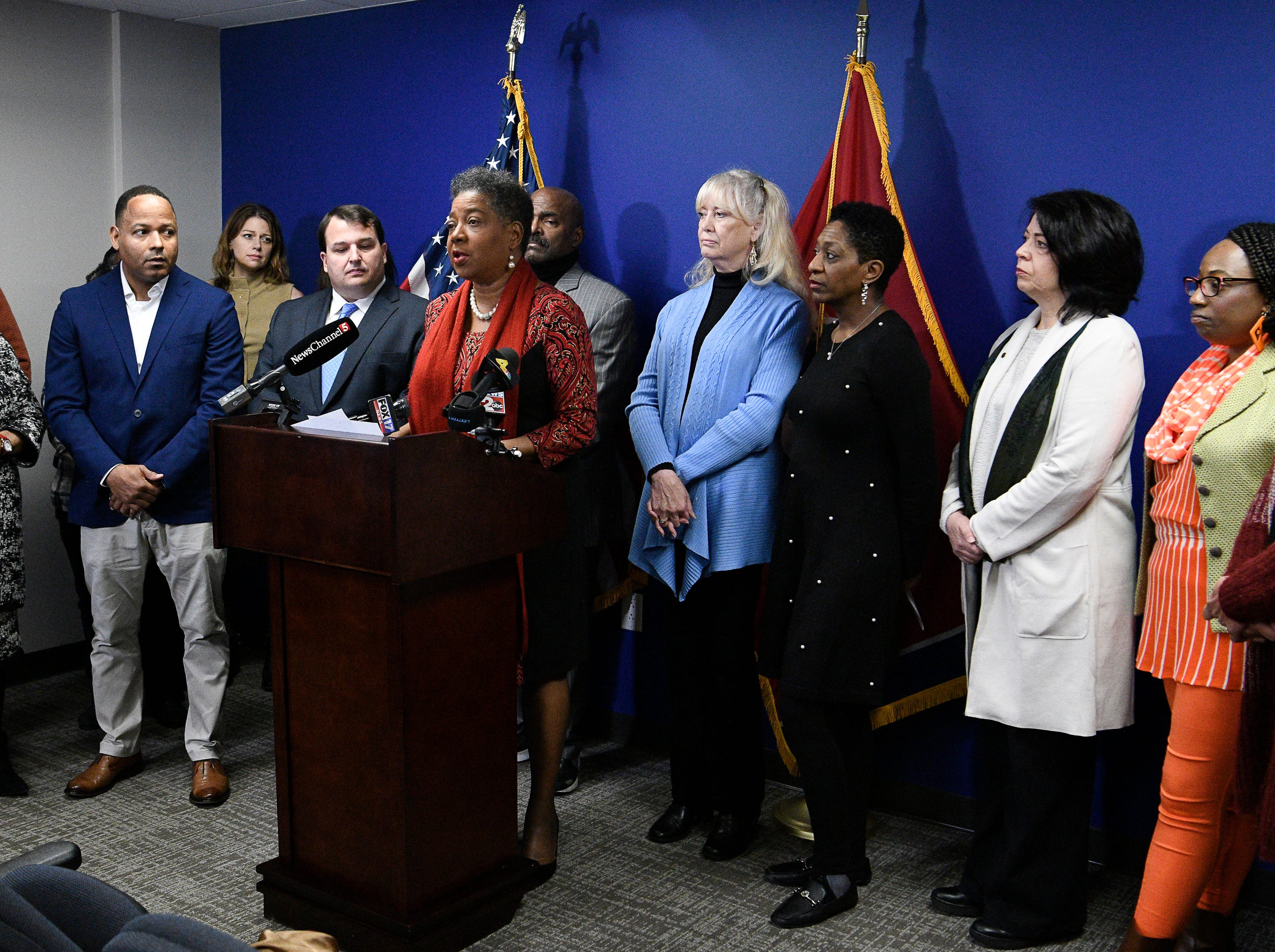 Tenn. Senator Elect Brenda Gilmore leads a press conference asking Gov. Bill Haslam to grant Cyntoia Brown clemency after being convicted of murder when she was 16-years-old in 2004 at the Cordell Hull Building Thursday, Jan. 3, 2019, in Nashville, Tenn.