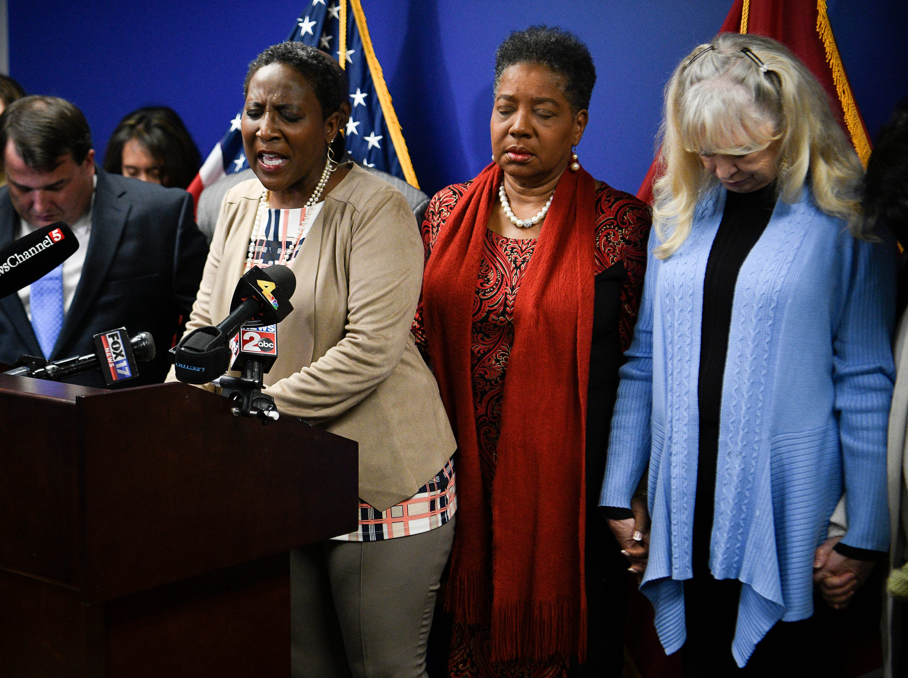 Rev. Judy Cummings leads a prayer during a press conference asking Gov. Bill Haslam to grant Cyntoia Brown clemency after being convicted of murder when she was 16-years-old in 2004 at the Cordell Hull Building Thursday, Jan. 3, 2019, in Nashville, Tenn.