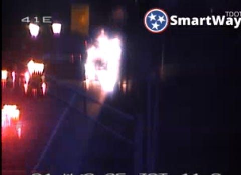 Crews respond to a vehicle fire on I-24 Jan. 3, 2019.