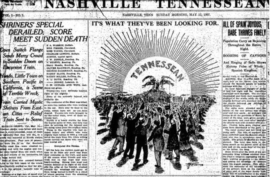 "A cartoon in the first edition of The Tennessean, published on May 12, 1907, says the paper is ""what they've been looking for."""