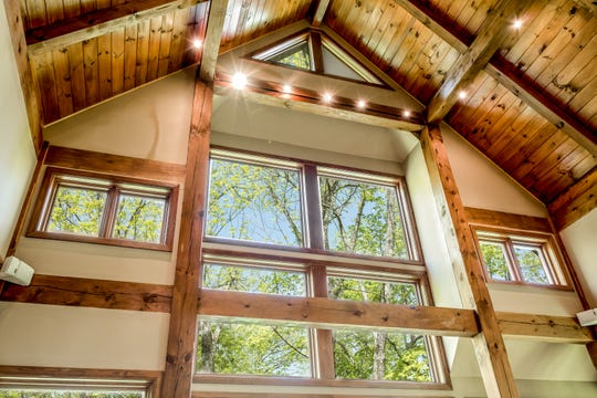 The home's post and beam construction allows the structure and framework of the home to be exposed.