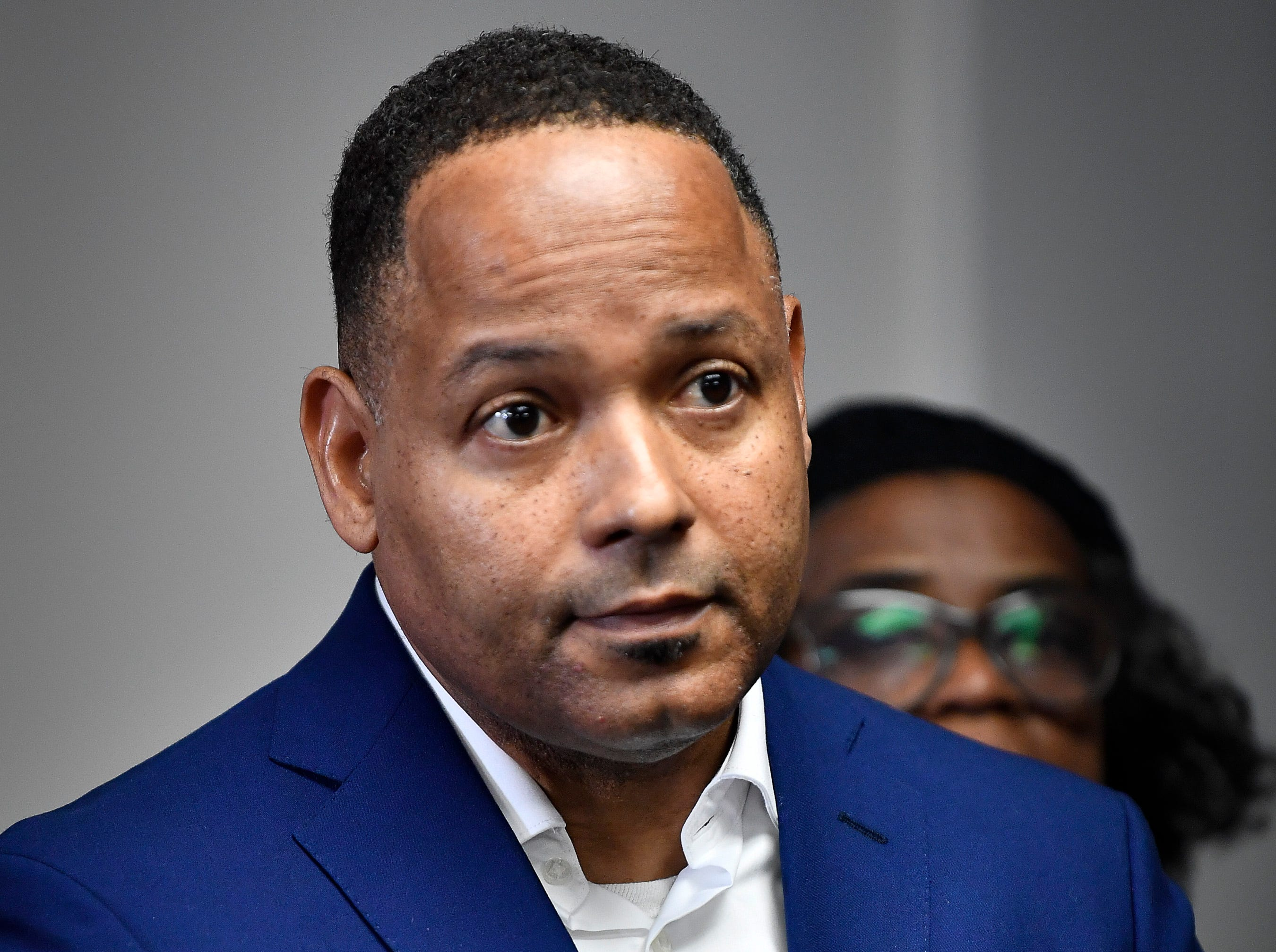Keith Caldwell president of the local NAACP listens during a press conference asking Gov. Bill Haslam to grant Cyntoia Brown clemency after being convicted of murder when she was 16-years-old in 2004 at the Cordell Hull Building Thursday, Jan. 3, 2019, in Nashville, Tenn.