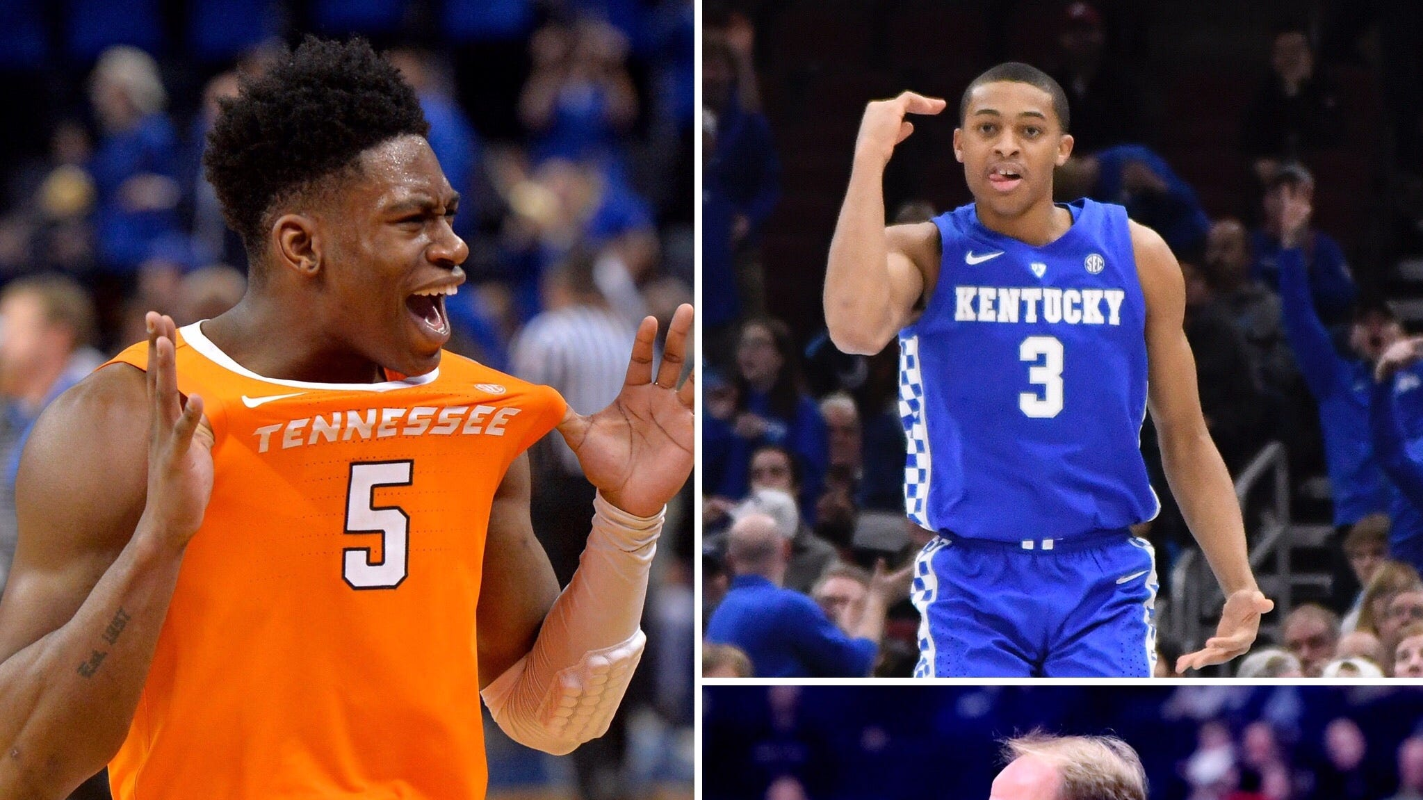 Tennessee's Admiral Schofield (counter-clockwise from top left), Vanderbilt's Simi Shittu, Ole Miss coach Kermit Davis and Kentucky's Keldon Johnson enter SEC play this week.