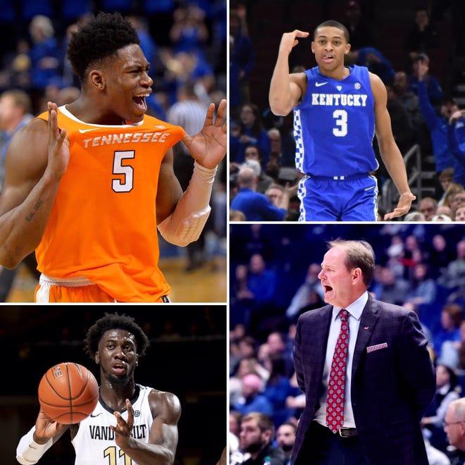 Tennessee's Admiral Schofield (counter-clockwise from top left), Vanderbilt's Simi Shittu, Ole Miss coach Kermit Davis and Kentucky's Keldon Johnson enter SEC play this week.