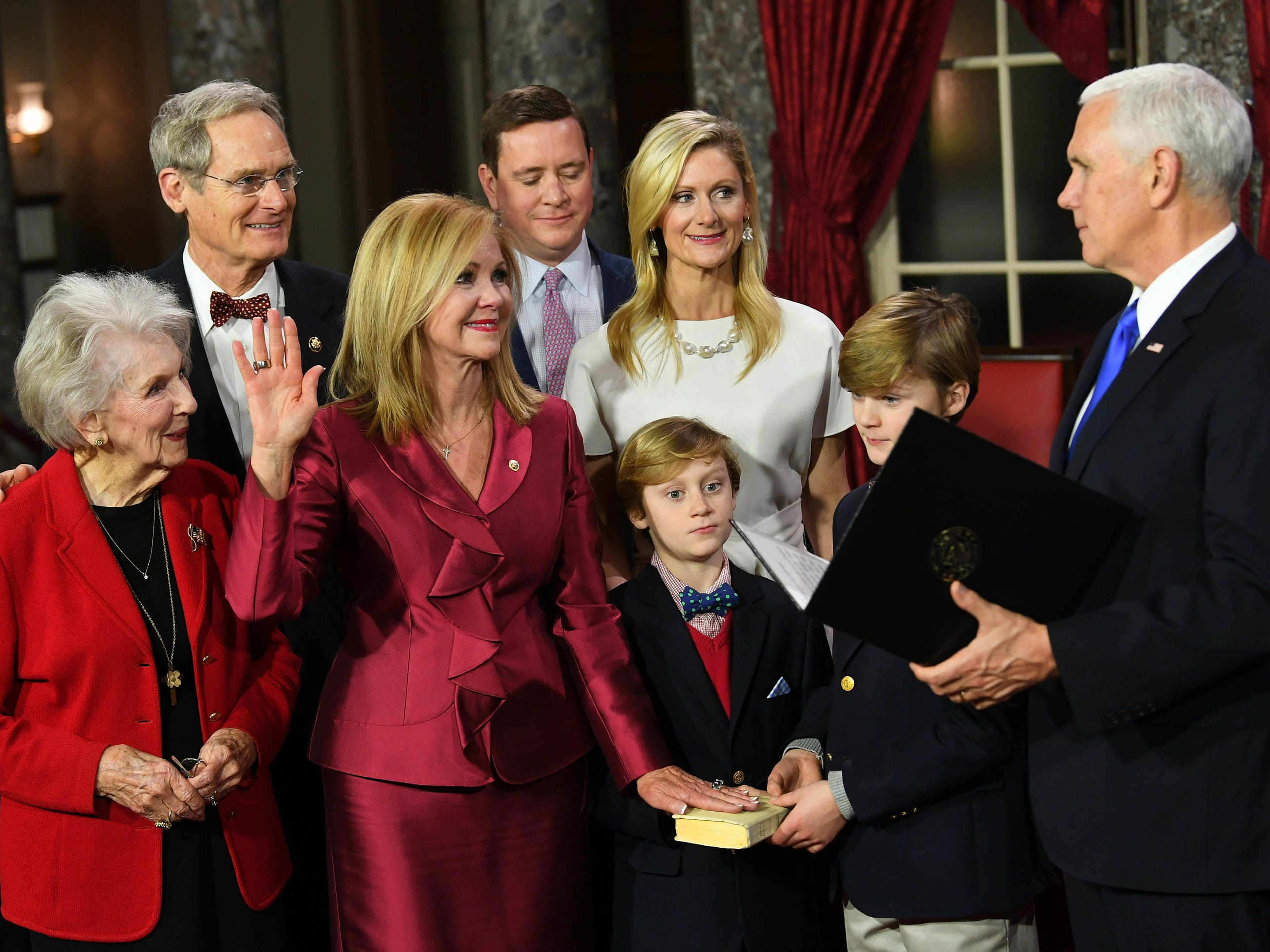 Vice President Mike Pence officiates ceremonial swearing-in of Marsha Blackburn in the Old Senate Chambers at the U.S. Capitol as she becomes Tennessee's first female United States Senator.