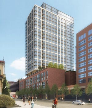 A rendering of the proposed 25-story tower for short-term rentals and apartments at 2004 and 2012 West End Avenue