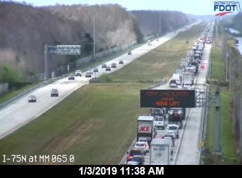 Traffic is backed up on westbound Alligator Alley due to a semitrailer fire.