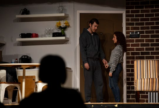 """Actors Marshall Prater and Karen Anglin rehearse Lanford Wilson's play """"Burn This"""" on Wednesday,  Jan. 2, 2019,  at the Golden Gate Community Center. The Studio Players production directed by Scott Lilly will premiere Friday, Jan. 11, 2019."""