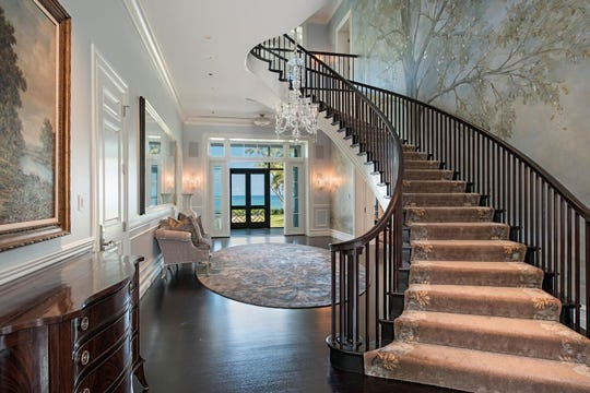 This beachfront home in Port Royal had a hand-painted three-story mural on the wall by the staircase.