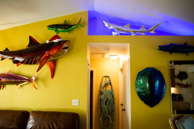 The walls of Jake Jones' home are covered with his art on Wednesday, Jan. 2, 2019, in Golden Gate Estates. Jones hopes to eventually show his pieces in a gallery, but for now his home serves as a showcase for his work.