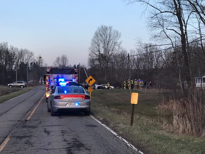 Police and firefighters respond to a fatal crash in the 4700 block of Licking Valley Road NE on Thursday afternoon, Jan. 3, 2019.