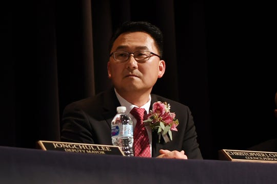 Christopher Chung before being sworn in as mayor by Governor Phil Murphy at Palisades Park Junior/Senior High School  on Wednesday, January 2, 2019. Chung is the first Korean-American mayor of Palisades Park.