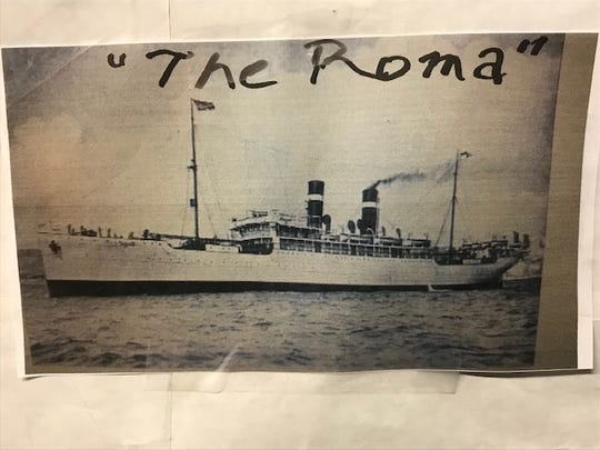 The Roma, which was the ship that brought his family over from Europe.