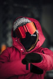Olympic gold medalist and snowboard athlete Jamie Anderson wearing the new Oakley Fall Line XL features Prizm React Technology with three different lens tints changed with the touch of a button.