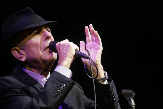 Leonard Cohen during his set at the 2009 Coachella Music and Arts Festival.