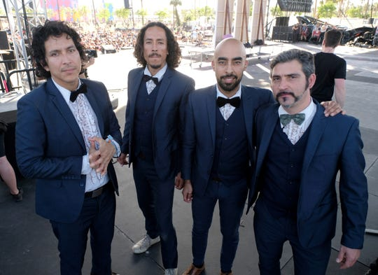 INDIO, CA - APRIL 15: (L-R) Musicians Eduardo Arenas, Bardo Martinez, Carlos Arevalo and Gabriel Villa of Chicano Batman pose backstage at the Outdoor Stage during day 2 of the Coachella Valley Music And Arts Festival (Weekend 1) at the Empire Polo Club on April 15, 2017 in Indio, California.  (Photo by Frazer Harrison/Getty Images for Coachella)