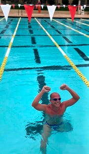 Steve Erickson completes his record-setting swim
