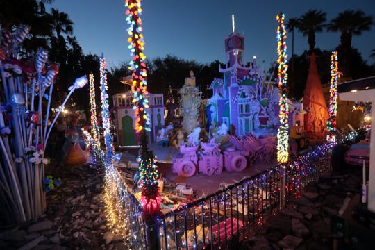 Visitors tour Robolights on its last night on Wednesday, January 2, 2018 in Palm Springs