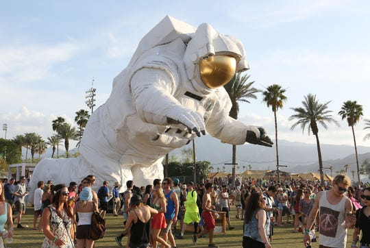 """The """"Escape Velocity"""" moving artwork makes its slow crawl around the Coachella Festival in 2014."""