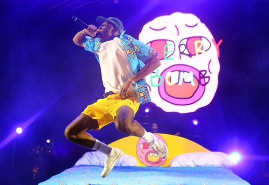 Tyler the Creator performs during the Coachella Festival, Saturday, April 11, 2015.