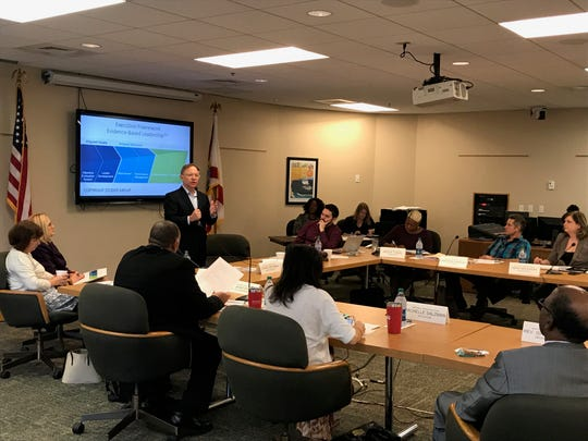 Quint Studer gives a presentation to Mayor Grover Robinson's transition team on evidence-based leadership on Thursday, Jan. 3, 2019.