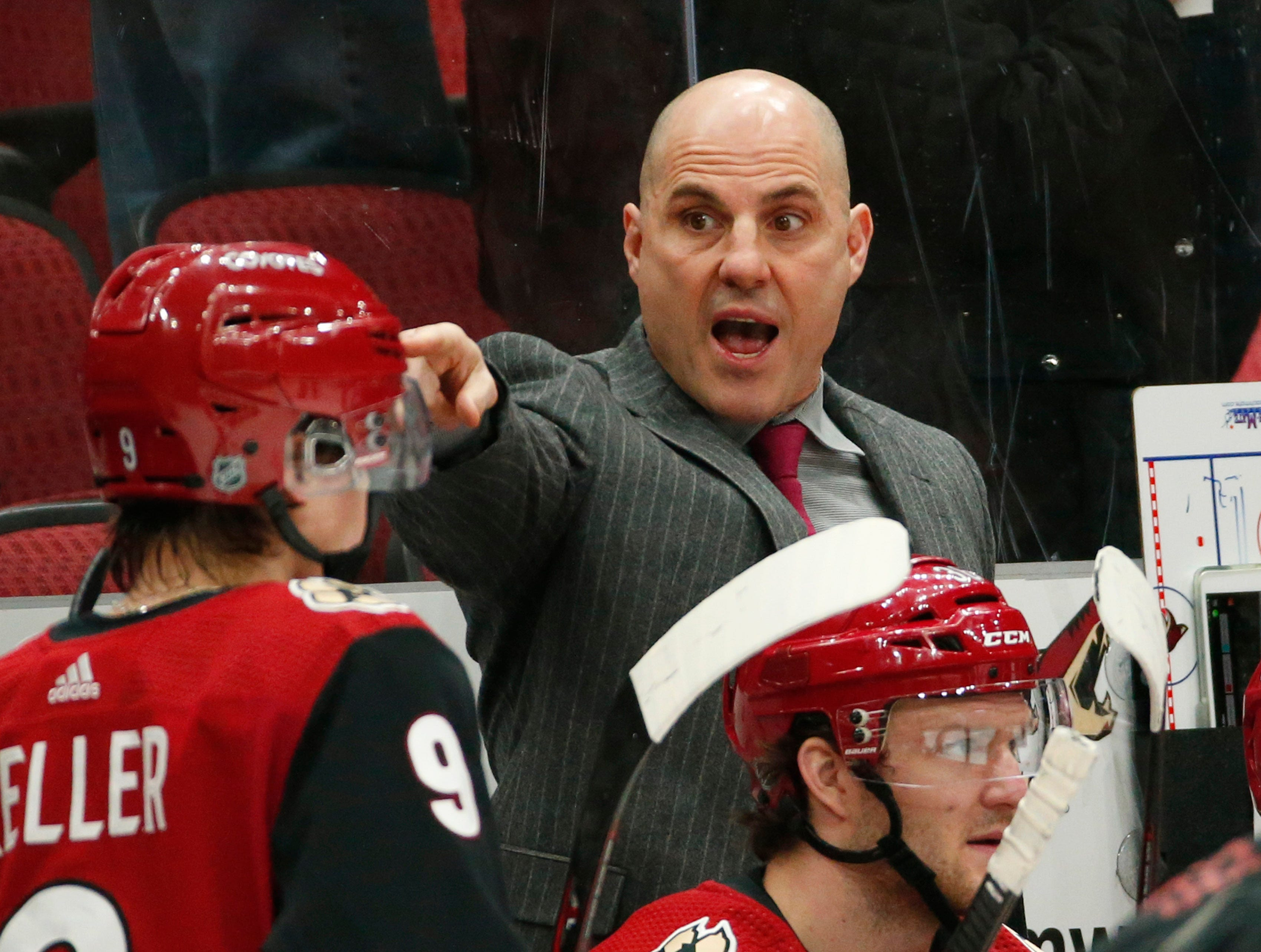 Arizona Coyotes head coach Rick Tocchet argues for a call against the Edmonton Oilers during the second period in Glendale January 2, 2019.