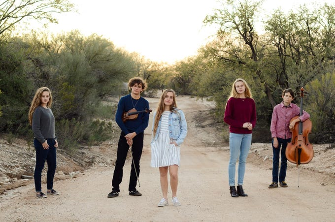 Copper Wren (left to right): Alivea Addleman, 14; Will MacDonald, 17; Ava Addleman, 18; Angel Addleman, 17; Lee MacDonald, 14.