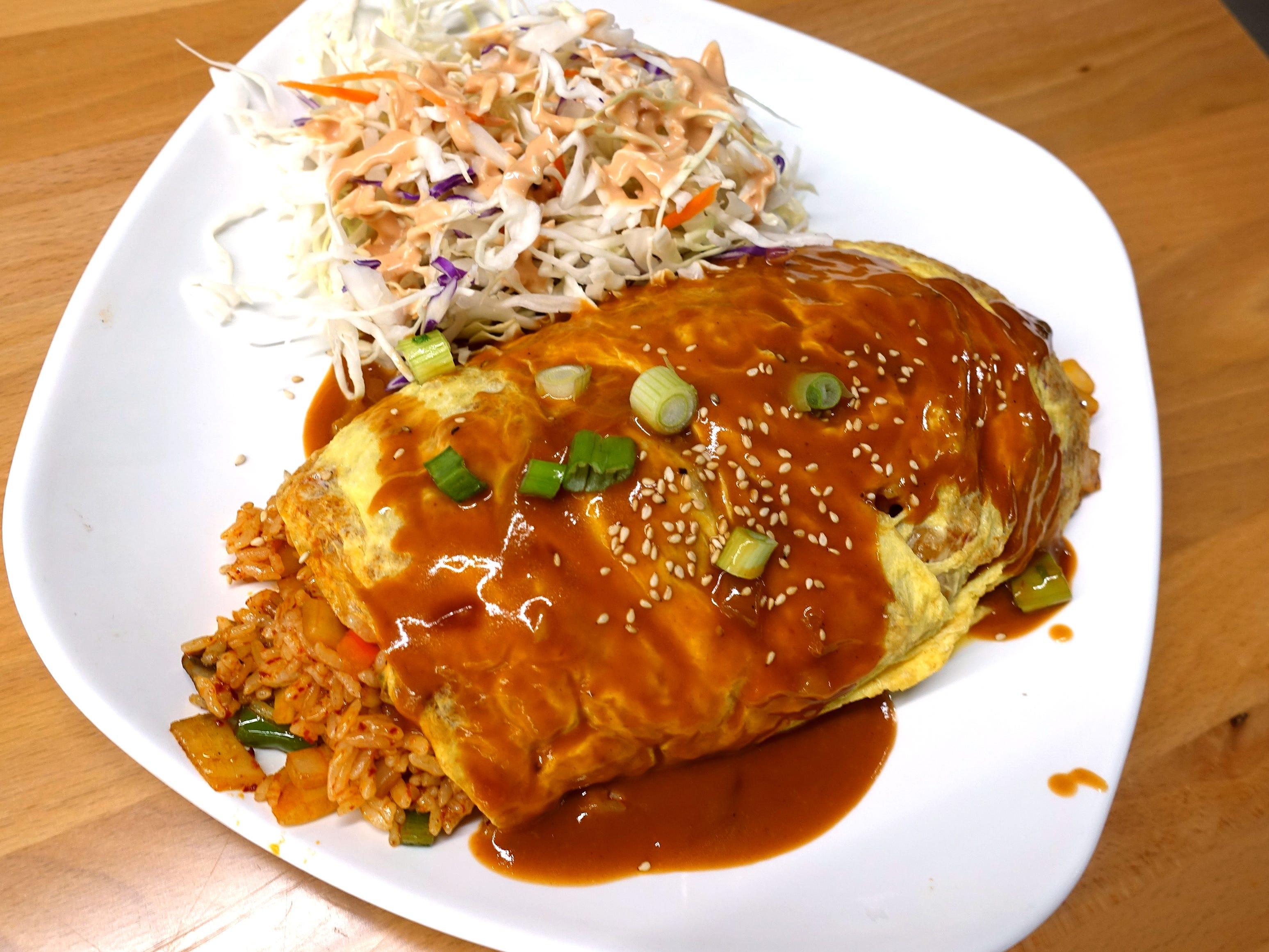 Kimchi and spam omurice at Katsu at Asiana Market in Mesa.