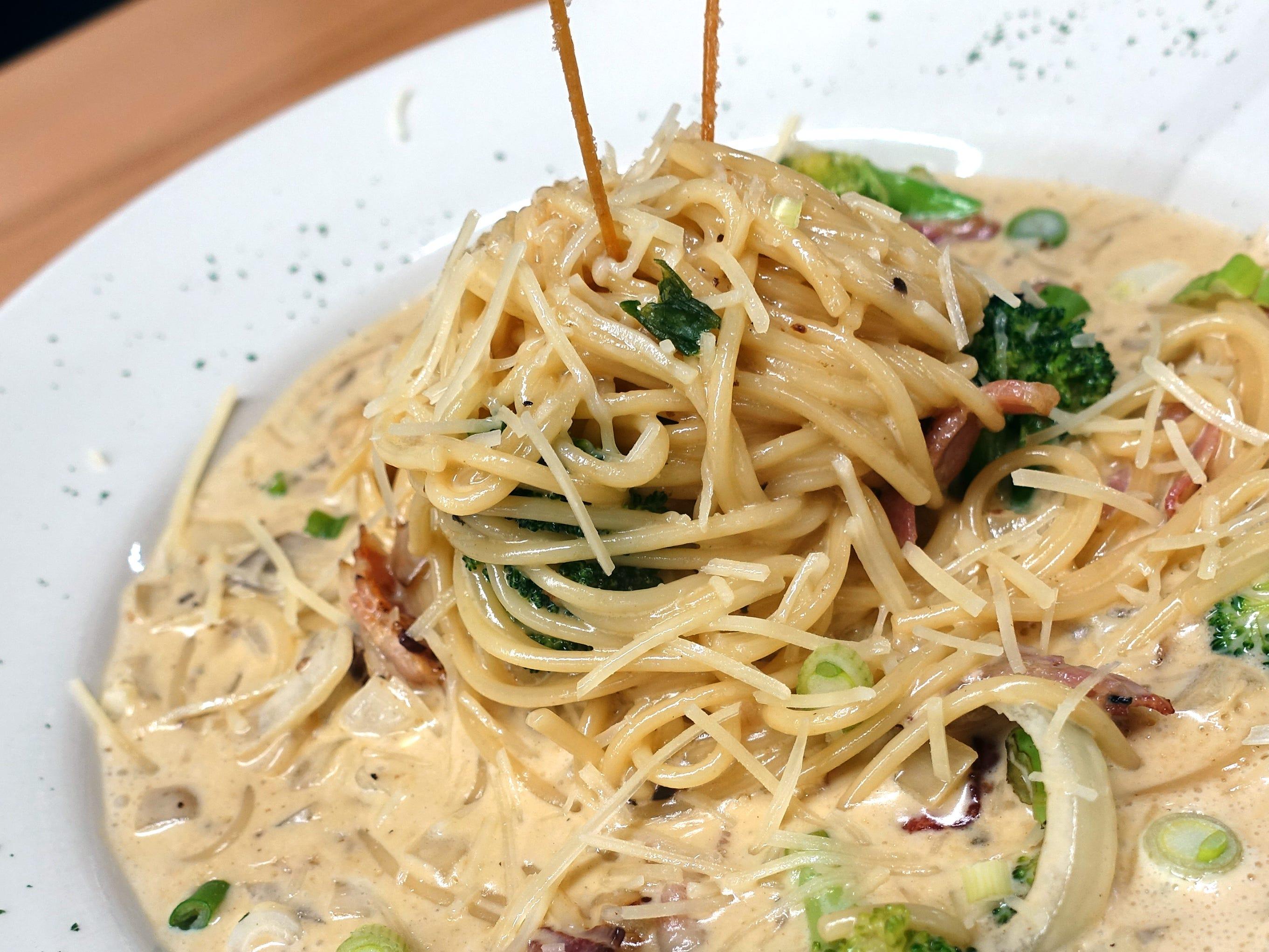 Carbonara pasta at Katsu at Asiana Market in Mesa.