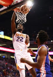 Suns center Deandre Ayton had 18 points with 11 rebounds against the 76ers on Wednesday at Talking Stick Resort Arena.
