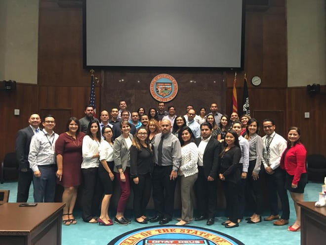Valle del Sol's 2017 Hispanic Leadership Institute class visits the Arizona Capitol.